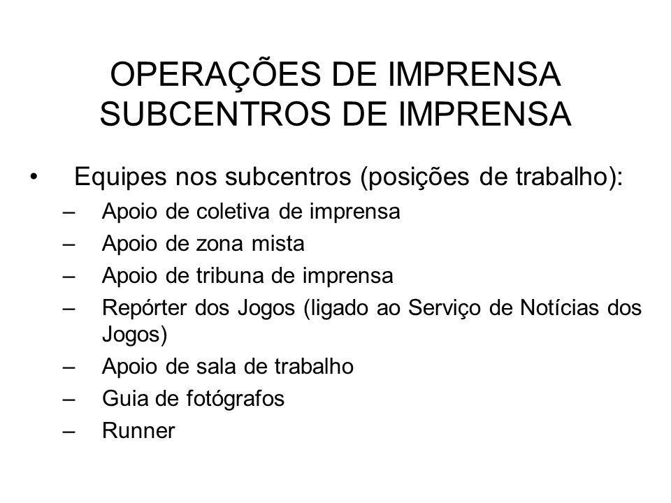OPERAÇÕES DE IMPRENSA SUBCENTROS DE IMPRENSA