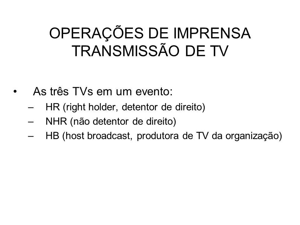 OPERAÇÕES DE IMPRENSA TRANSMISSÃO DE TV
