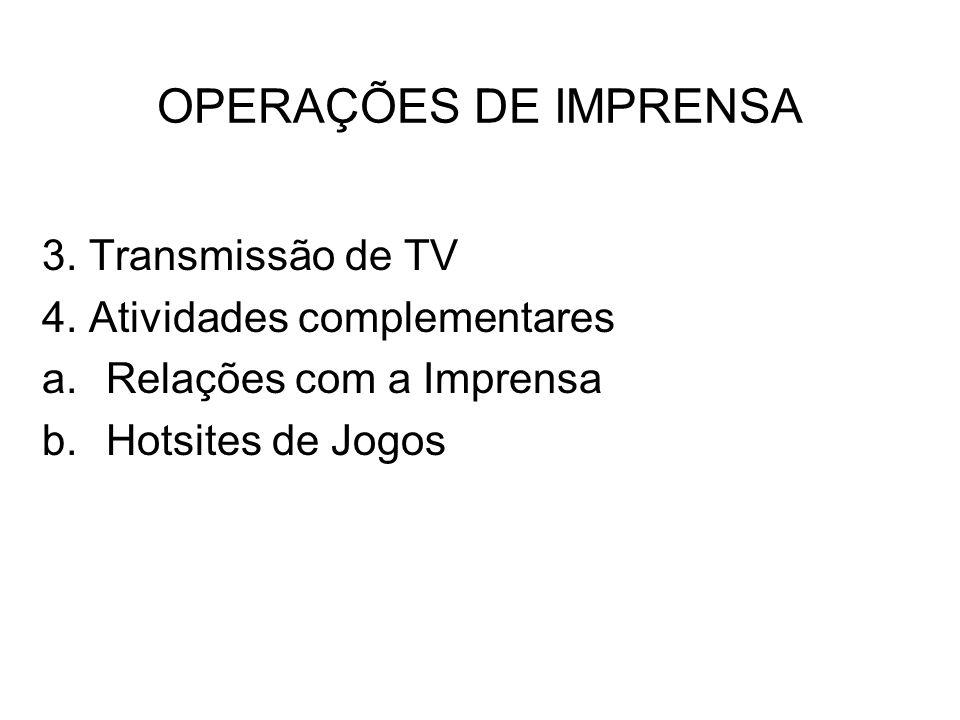 OPERAÇÕES DE IMPRENSA 3. Transmissão de TV