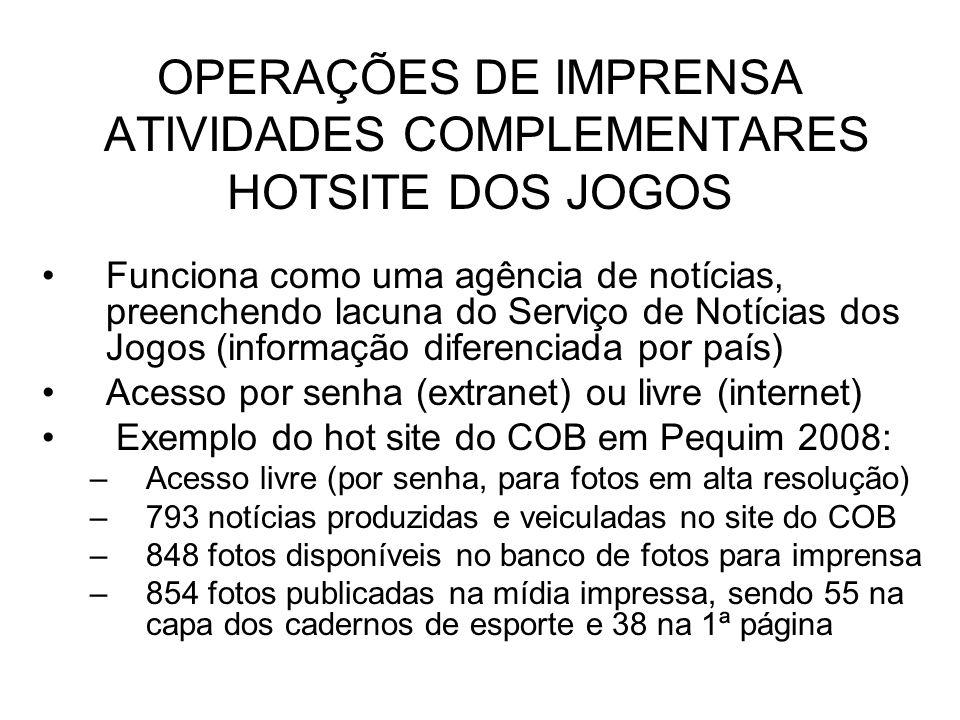 OPERAÇÕES DE IMPRENSA ATIVIDADES COMPLEMENTARES HOTSITE DOS JOGOS