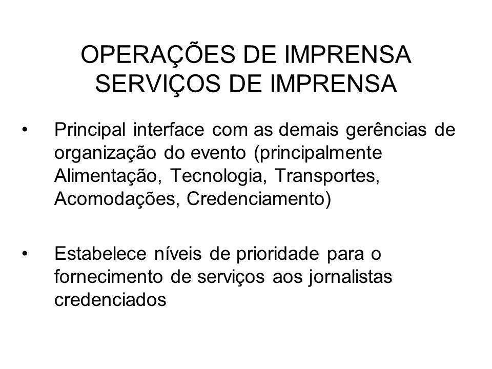 OPERAÇÕES DE IMPRENSA SERVIÇOS DE IMPRENSA