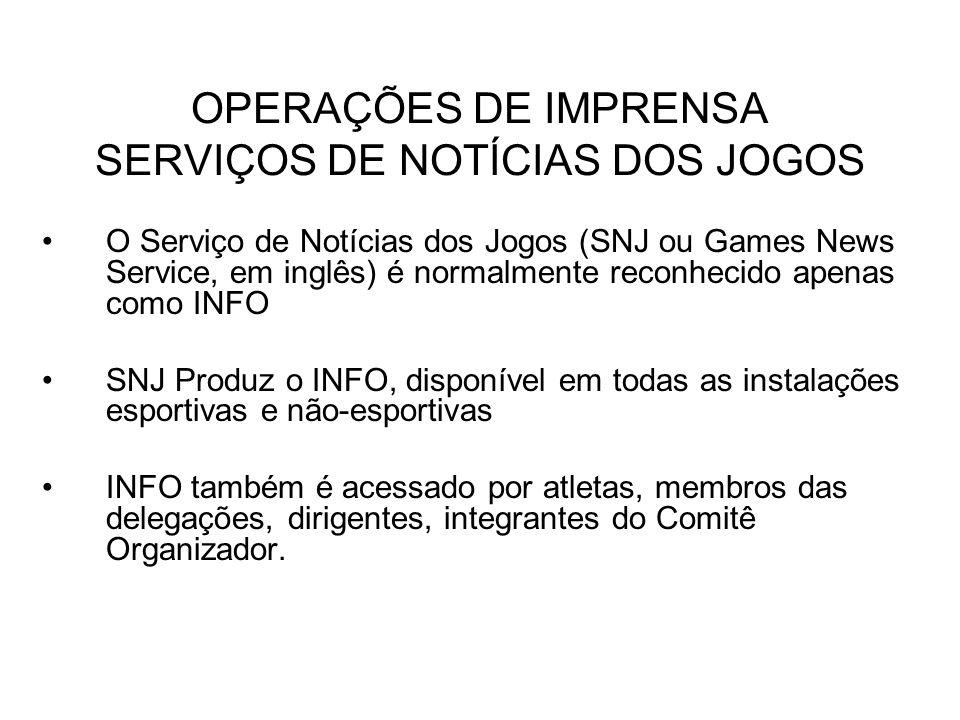 OPERAÇÕES DE IMPRENSA SERVIÇOS DE NOTÍCIAS DOS JOGOS