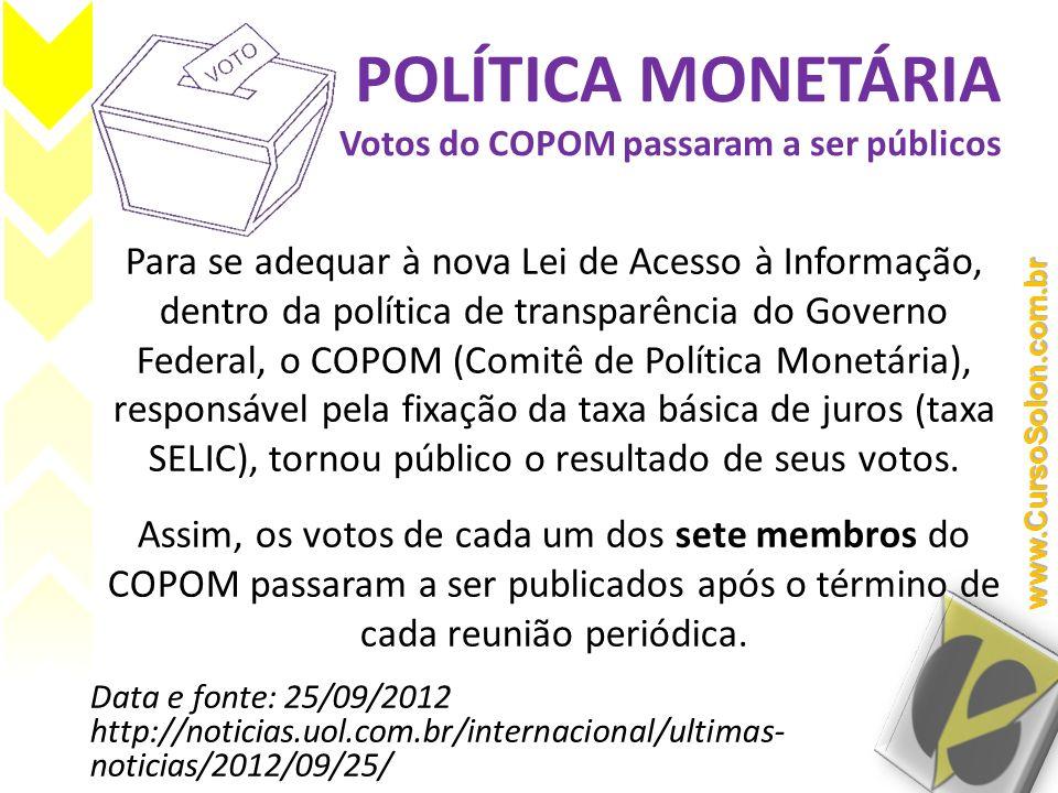 POLÍTICA MONETÁRIA Votos do COPOM passaram a ser públicos