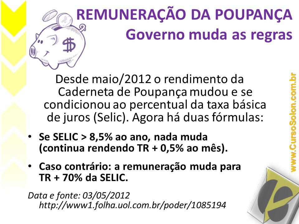 REMUNERAÇÃO DA POUPANÇA Governo muda as regras