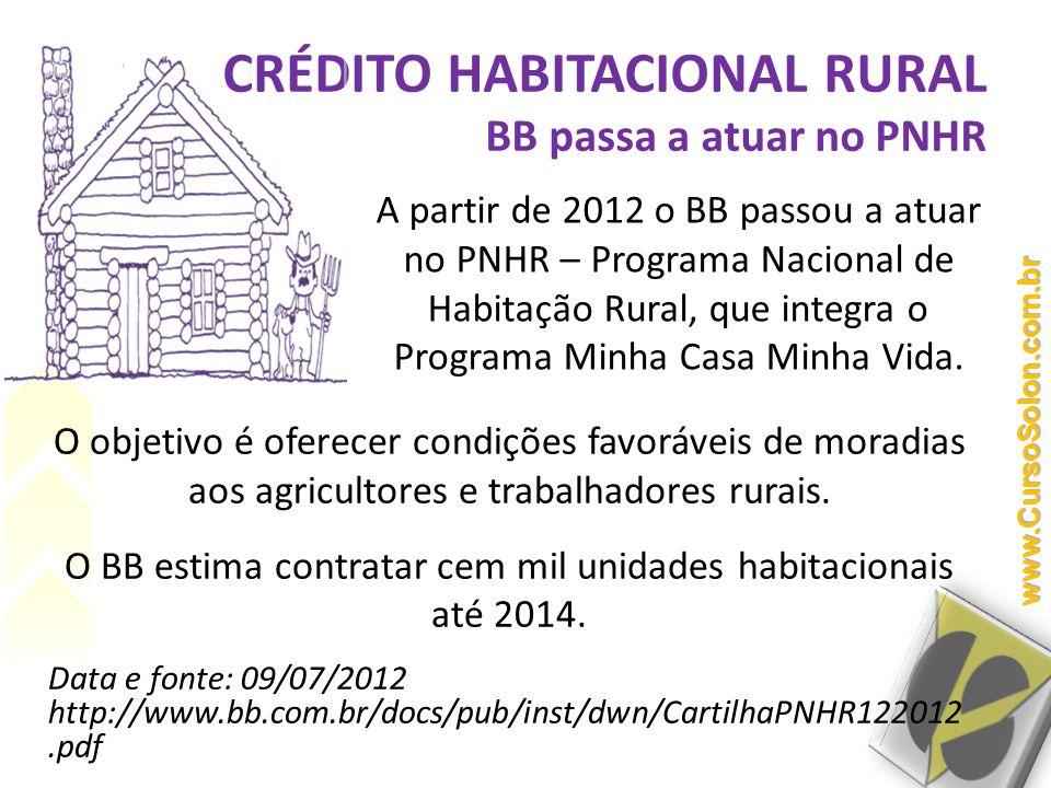 CRÉDITO HABITACIONAL RURAL BB passa a atuar no PNHR