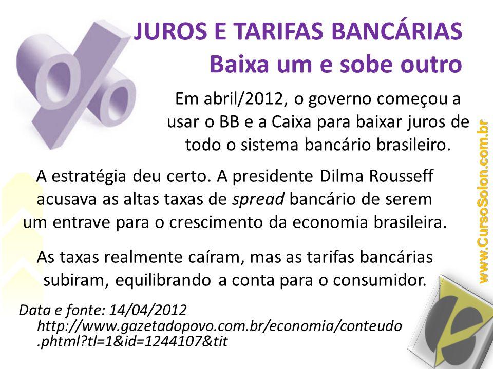 JUROS E TARIFAS BANCÁRIAS Baixa um e sobe outro