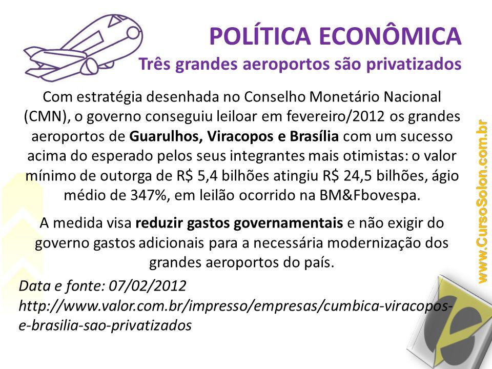 POLÍTICA ECONÔMICA Três grandes aeroportos são privatizados