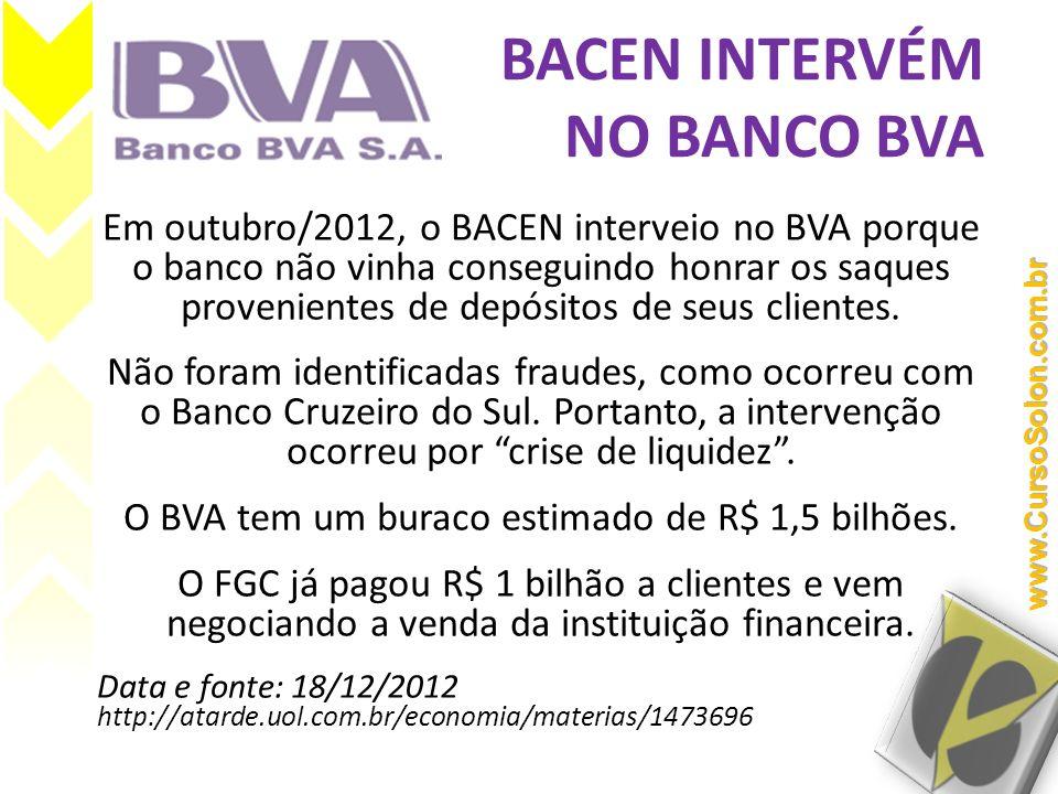 BACEN INTERVÉM NO BANCO BVA