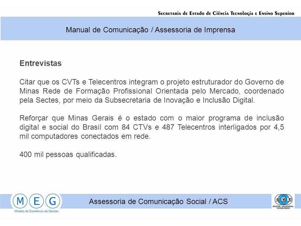Entrevistas Manual de Comunicação / Assessoria de Imprensa