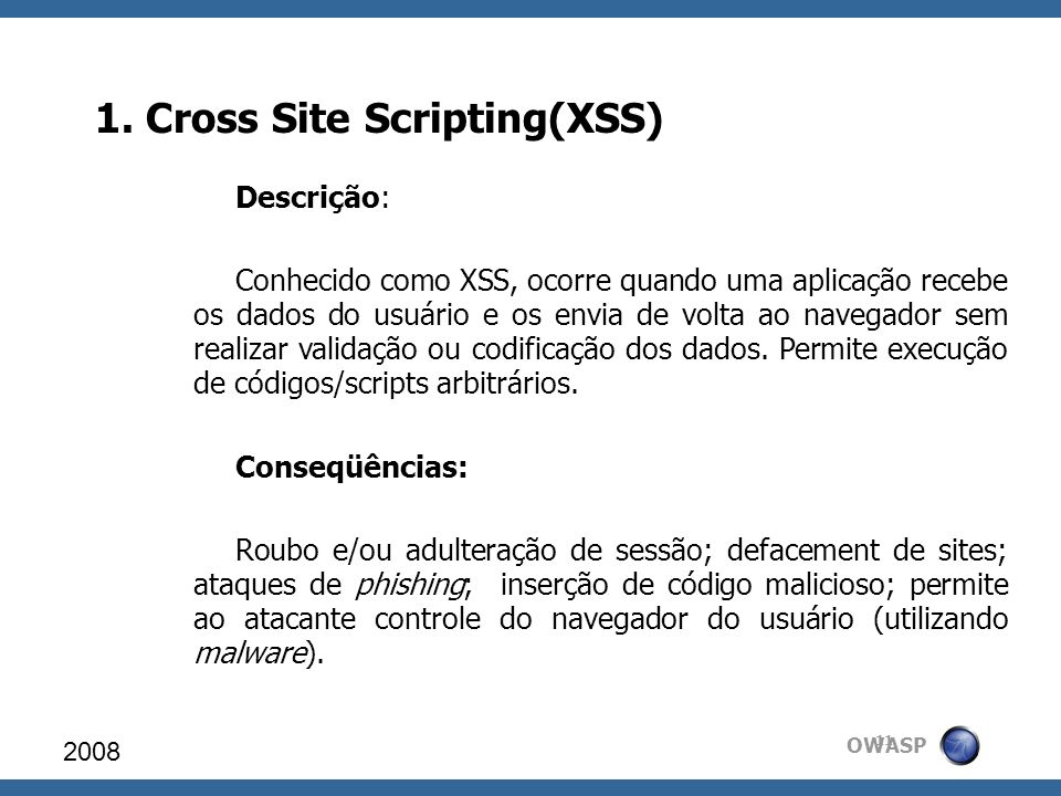 1. Cross Site Scripting(XSS)