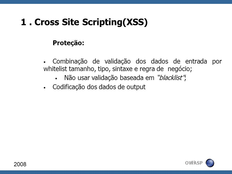1 . Cross Site Scripting(XSS)