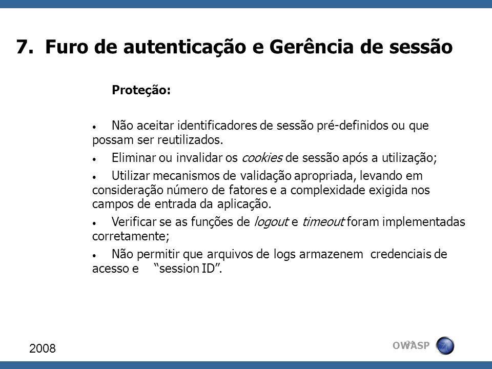 7. Furo de autenticação e Gerência de sessão