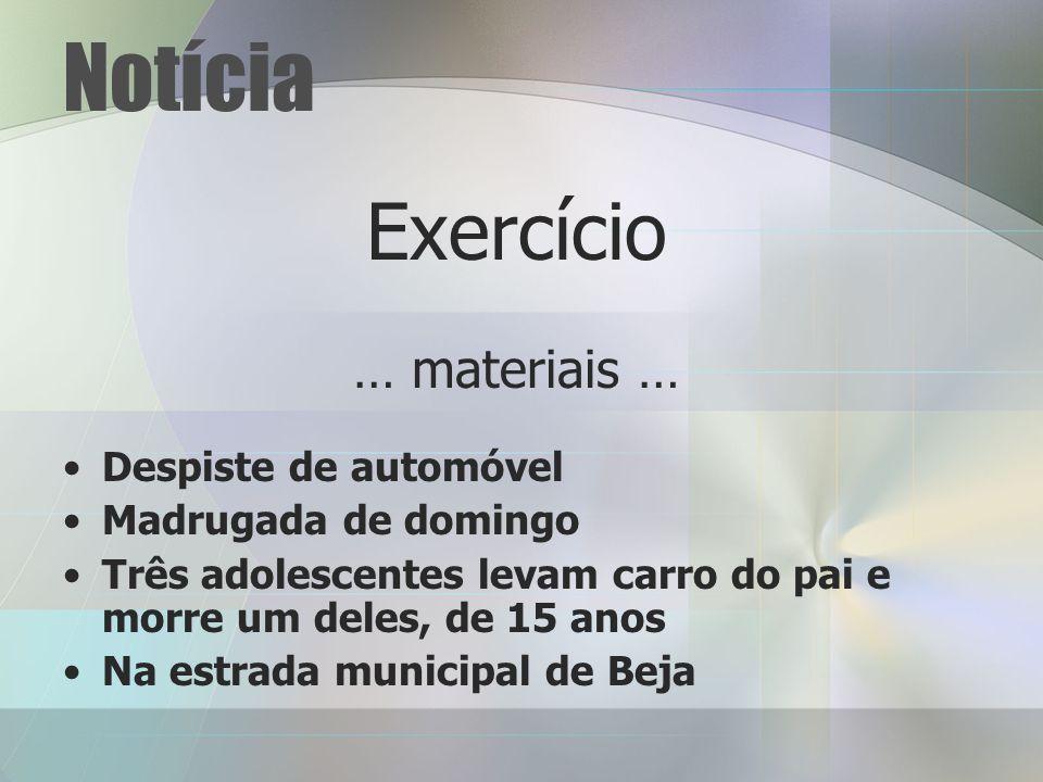 Notícia Exercício … materiais … Despiste de automóvel
