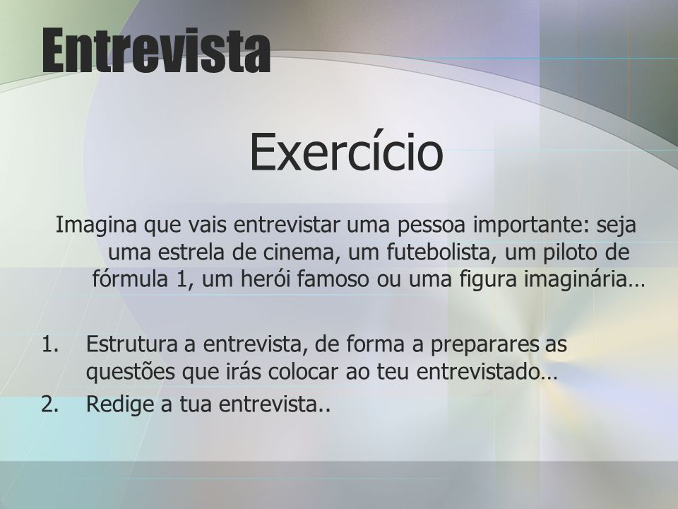 Entrevista Exercício.