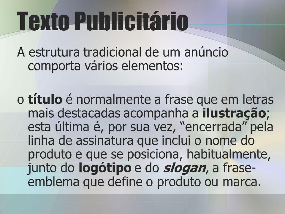 Texto Publicitário A estrutura tradicional de um anúncio comporta vários elementos: