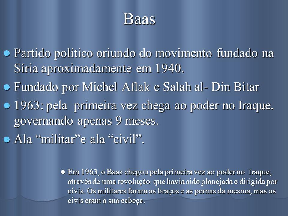 Baas Partido político oriundo do movimento fundado na Síria aproximadamente em 1940. Fundado por Michel Aflak e Salah al- Din Bitar.