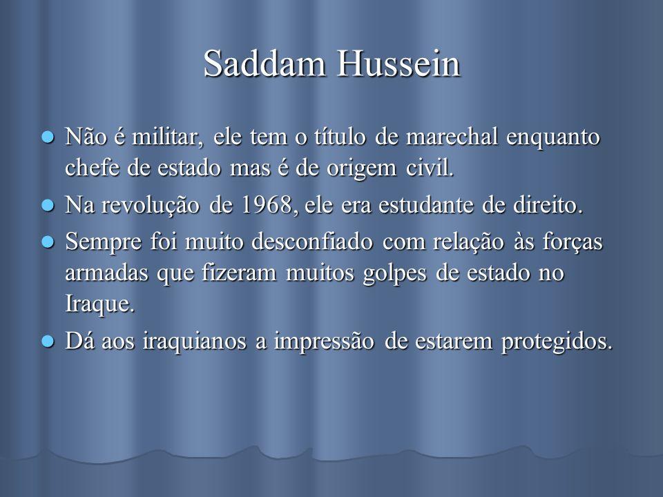 Saddam Hussein Não é militar, ele tem o título de marechal enquanto chefe de estado mas é de origem civil.