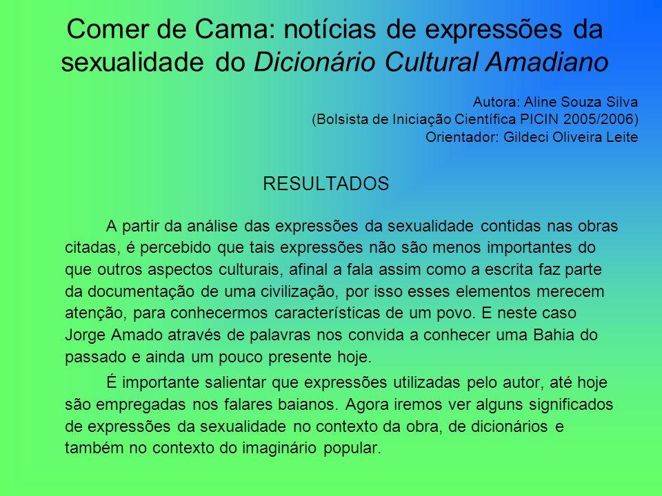 Comer de Cama: notícias de expressões da sexualidade do Dicionário Cultural Amadiano