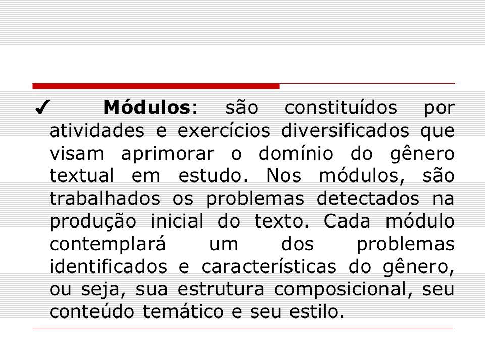 ✔ Módulos: são constituídos por atividades e exercícios diversificados que visam aprimorar o domínio do gênero textual em estudo.
