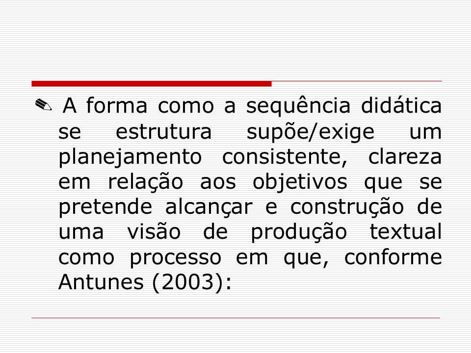 ✎ A forma como a sequência didática se estrutura supõe/exige um planejamento consistente, clareza em relação aos objetivos que se pretende alcançar e construção de uma visão de produção textual como processo em que, conforme Antunes (2003):
