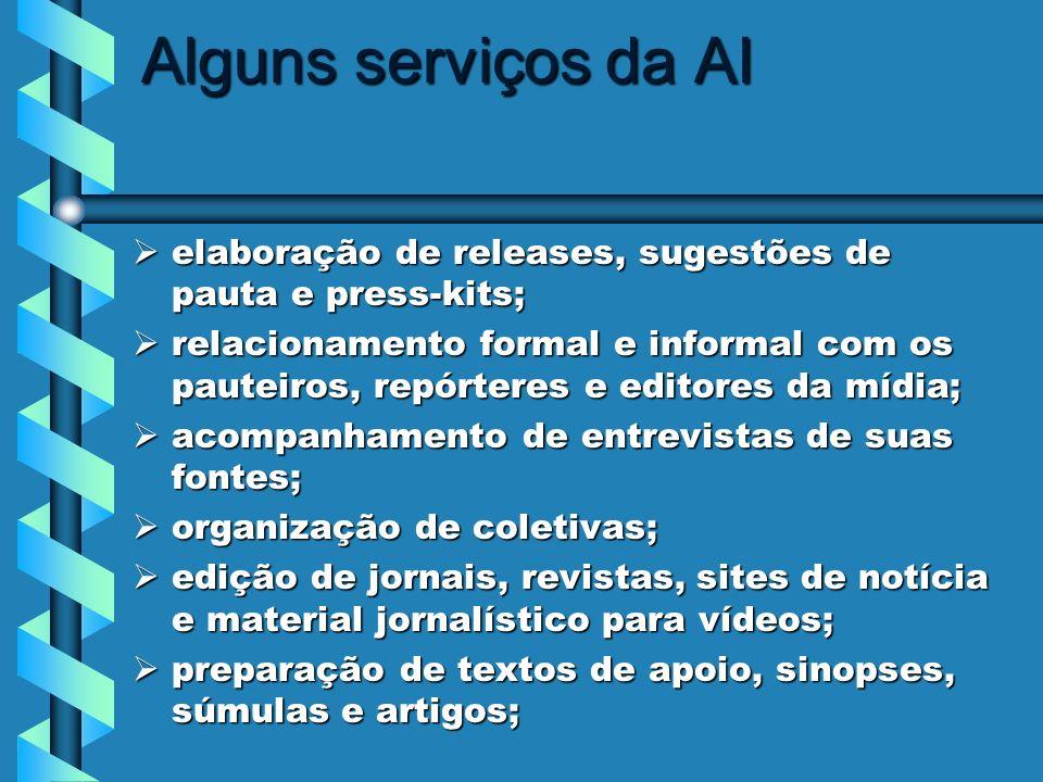 Alguns serviços da AI elaboração de releases, sugestões de pauta e press-kits;