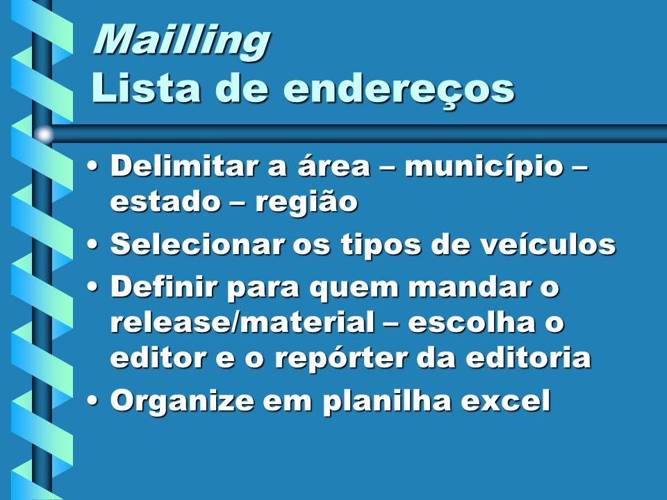 Mailling Lista de endereços