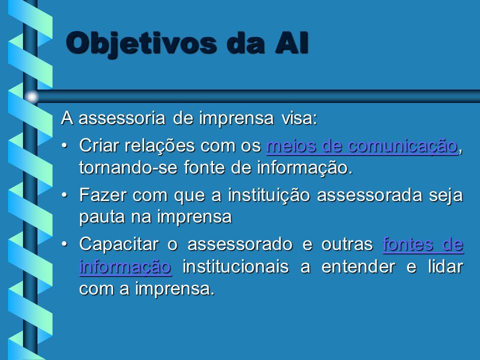 Objetivos da AI A assessoria de imprensa visa: