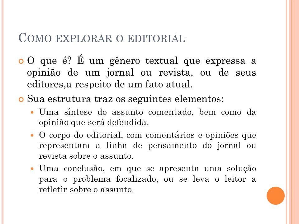 Como explorar o editorial