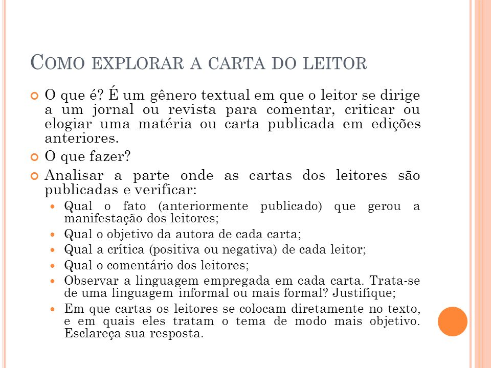 Como explorar a carta do leitor
