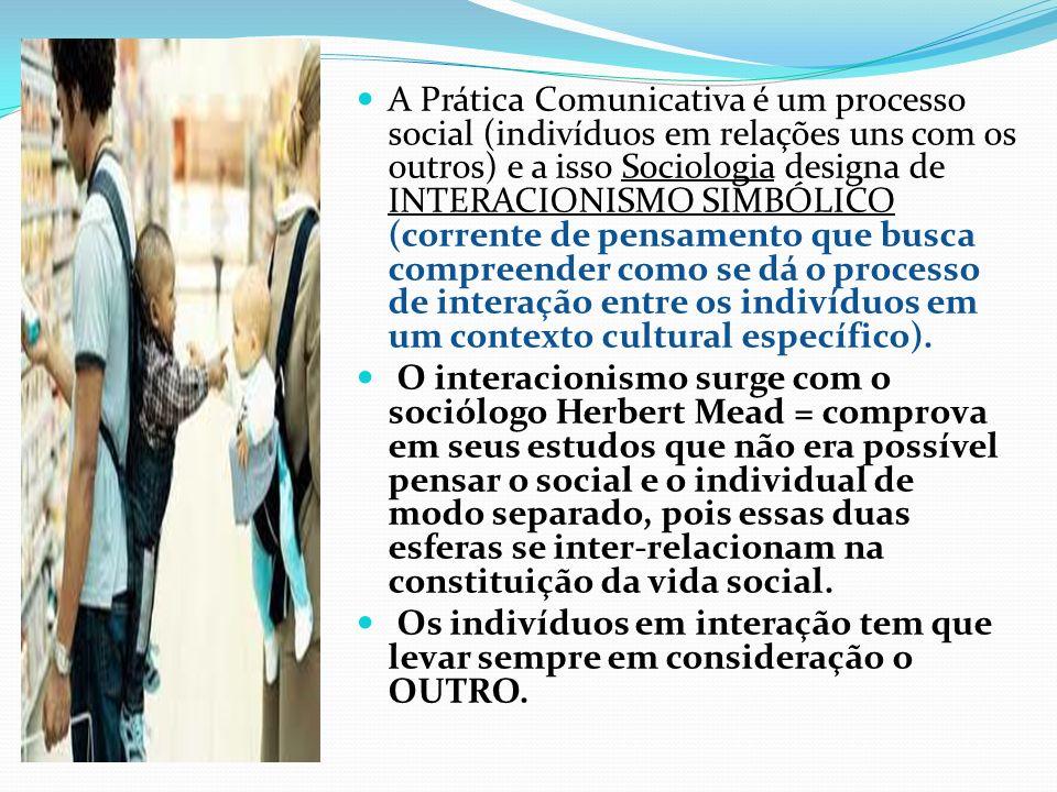 A Prática Comunicativa é um processo social (indivíduos em relações uns com os outros) e a isso Sociologia designa de INTERACIONISMO SIMBÓLICO (corrente de pensamento que busca compreender como se dá o processo de interação entre os indivíduos em um contexto cultural específico).