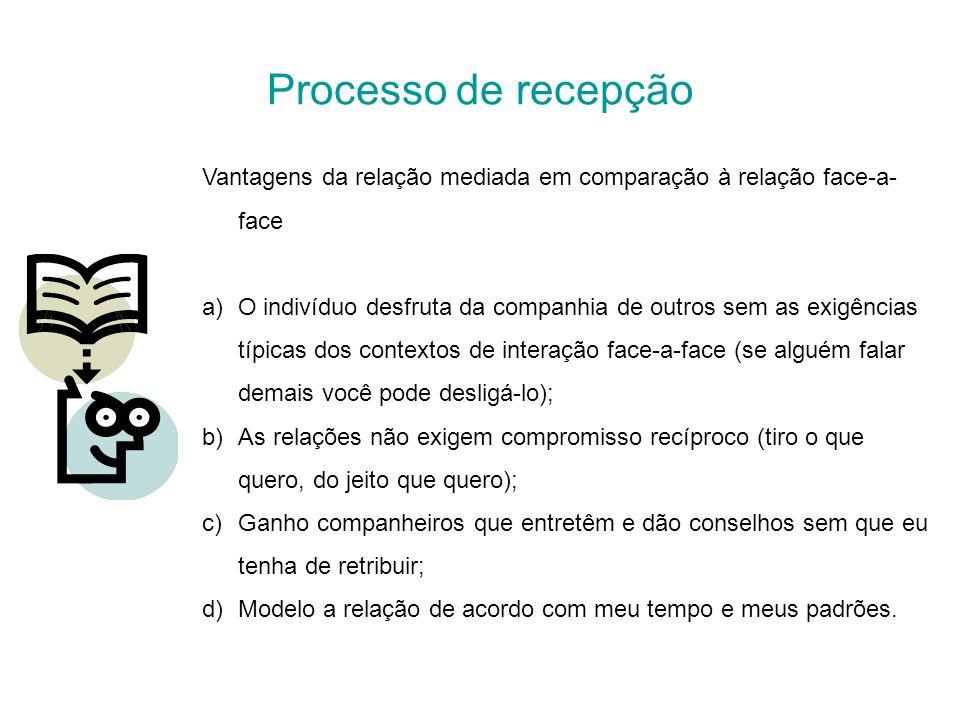 Processo de recepção Vantagens da relação mediada em comparação à relação face-a-face.