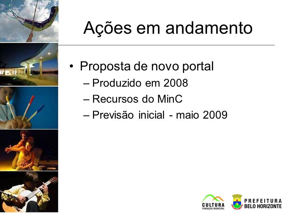 Ações em andamento Proposta de novo portal Produzido em 2008