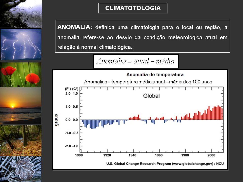Anomalias = temperatura média anual – média dos 100 anos