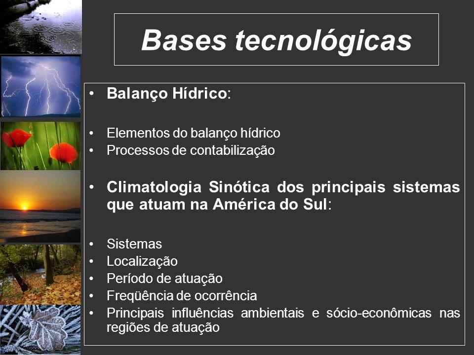 Bases tecnológicas Balanço Hídrico: