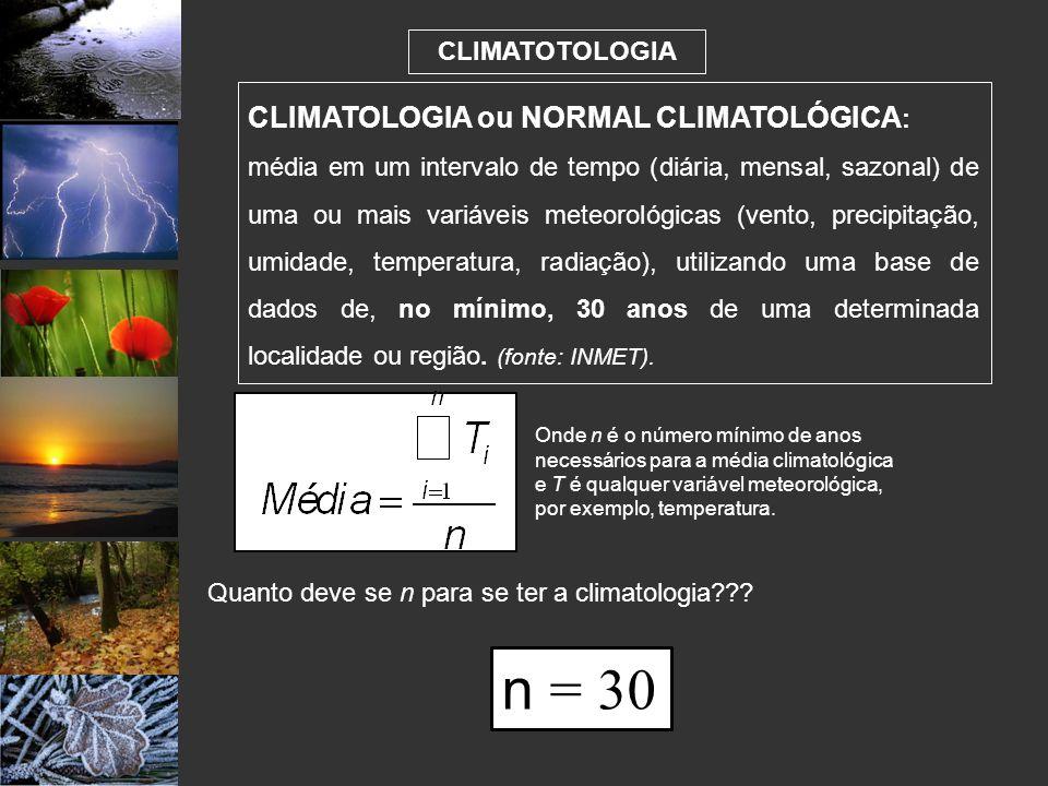 Quanto deve se n para se ter a climatologia
