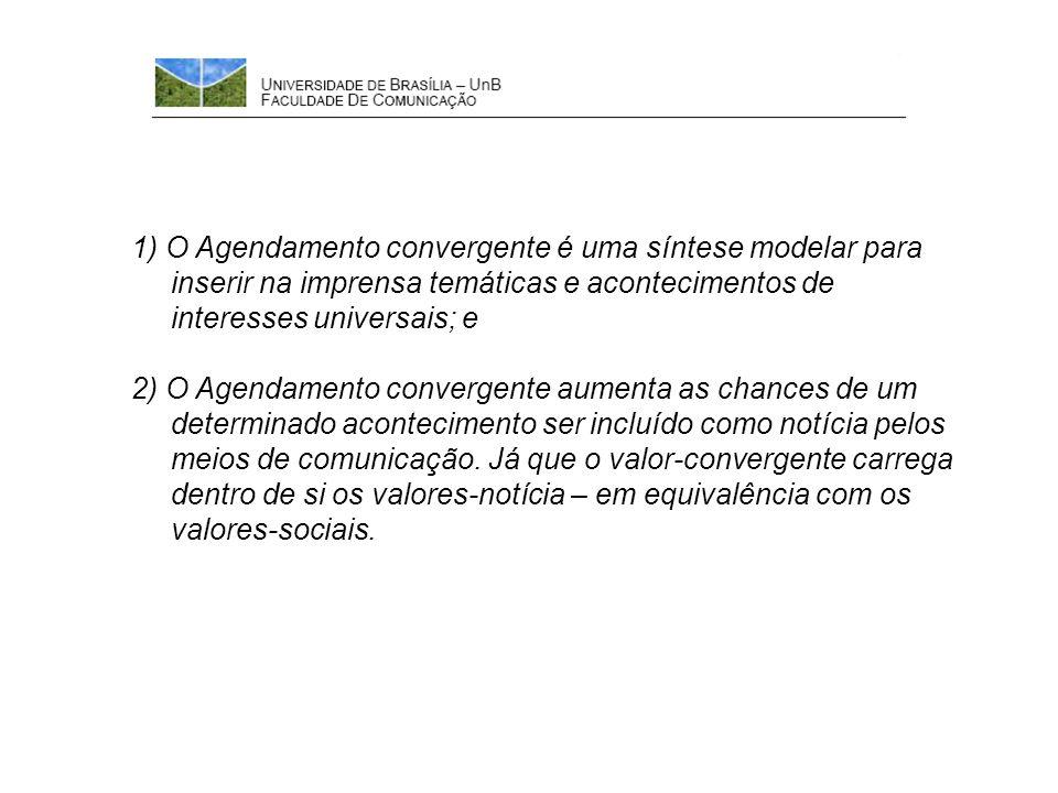 1) O Agendamento convergente é uma síntese modelar para inserir na imprensa temáticas e acontecimentos de interesses universais; e