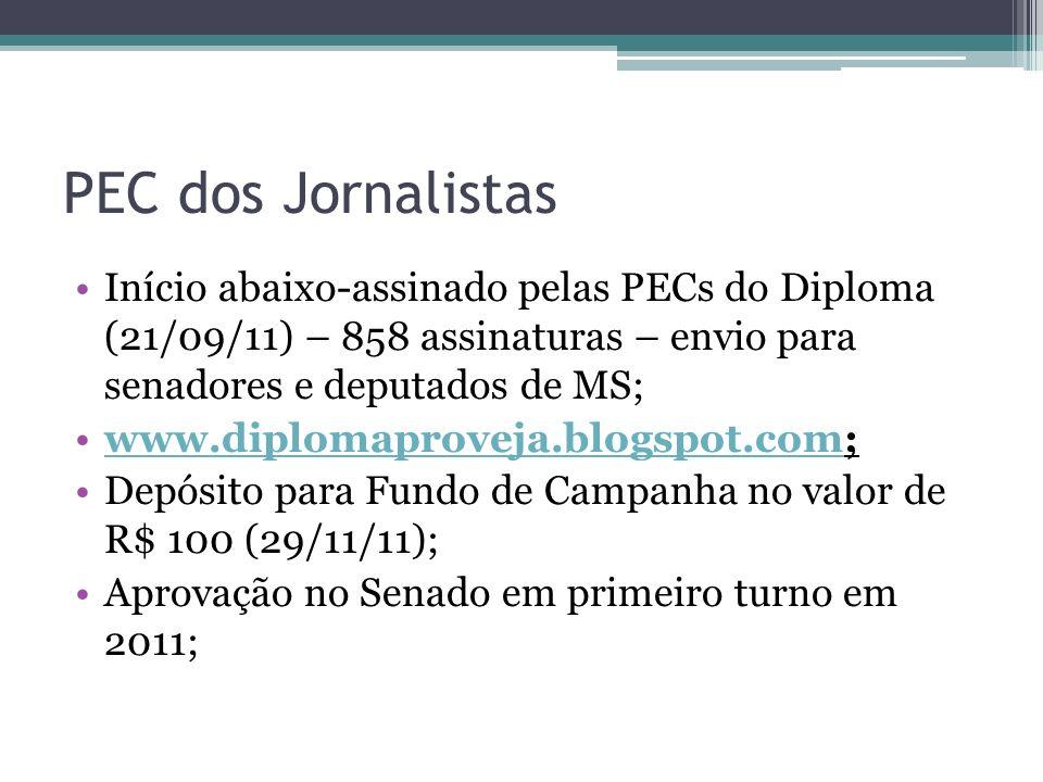 PEC dos Jornalistas Início abaixo-assinado pelas PECs do Diploma (21/09/11) – 858 assinaturas – envio para senadores e deputados de MS;