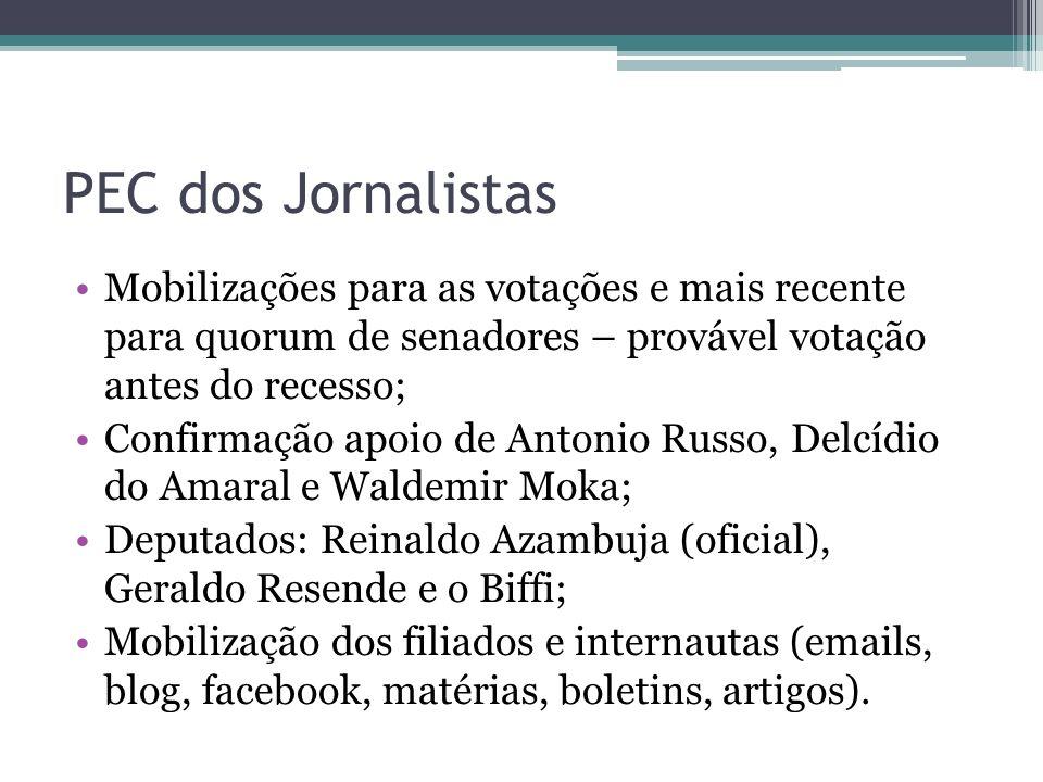 PEC dos Jornalistas Mobilizações para as votações e mais recente para quorum de senadores – provável votação antes do recesso;