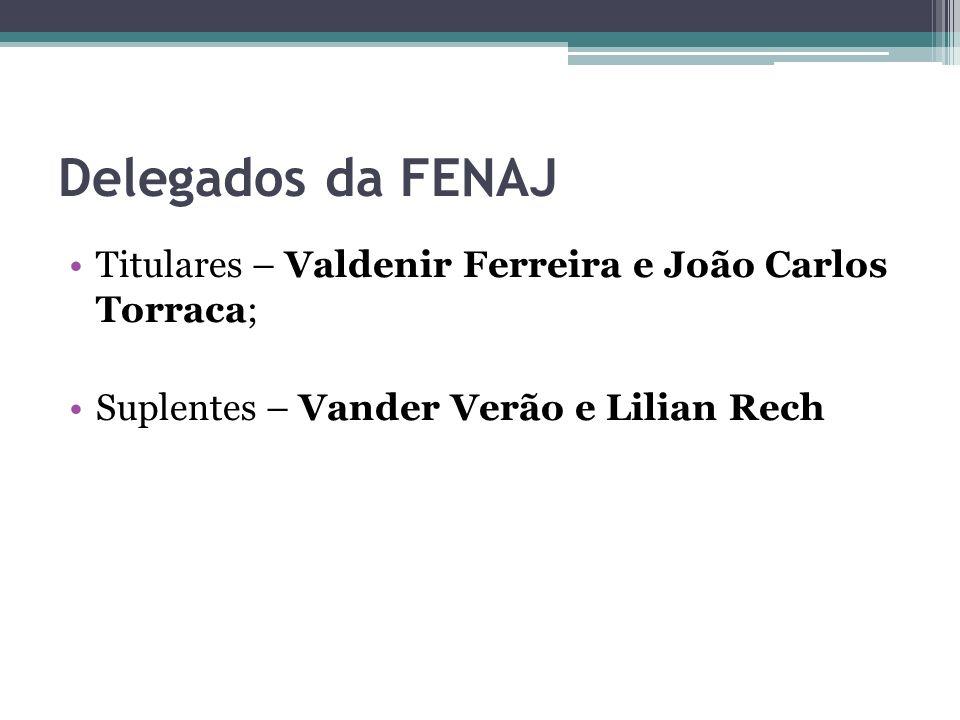Delegados da FENAJ Titulares – Valdenir Ferreira e João Carlos Torraca; Suplentes – Vander Verão e Lilian Rech.