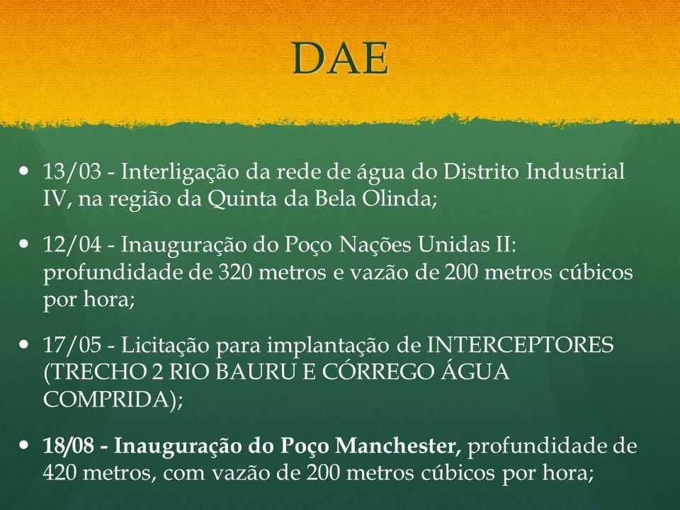 DAE 13/03 - Interligação da rede de água do Distrito Industrial IV, na região da Quinta da Bela Olinda;