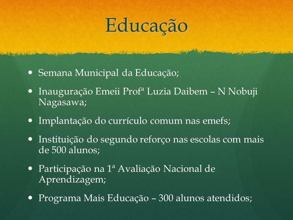 Educação Semana Municipal da Educação;