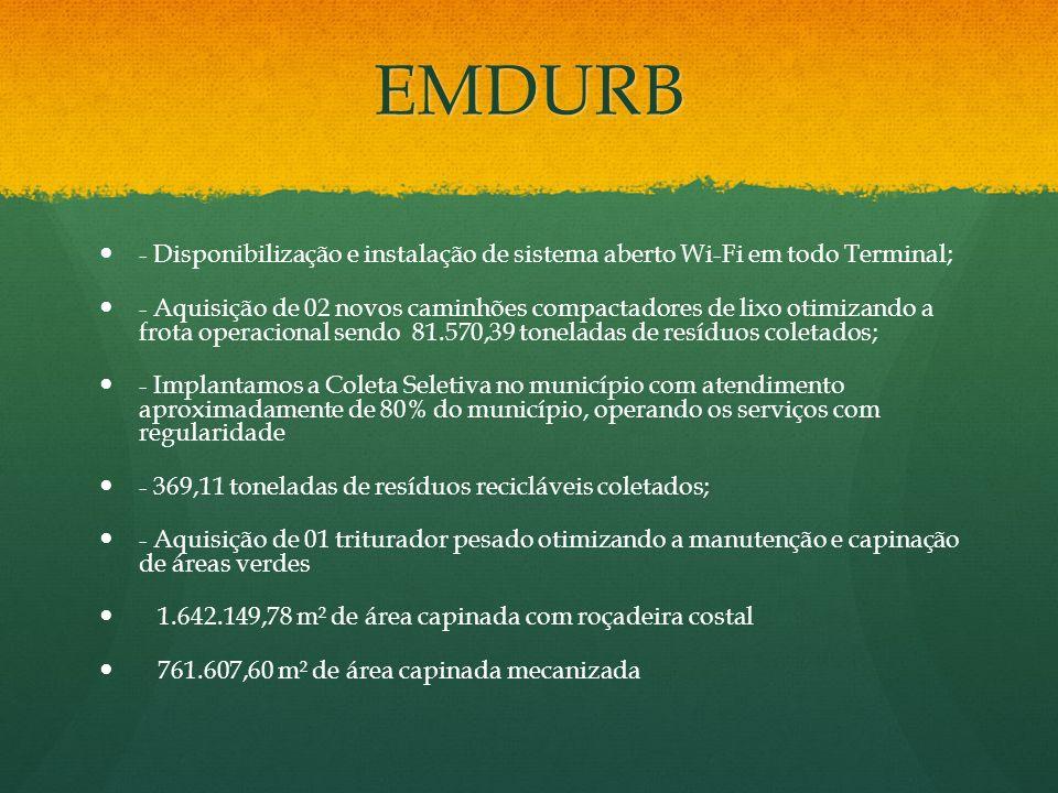 EMDURB - Disponibilização e instalação de sistema aberto Wi-Fi em todo Terminal;