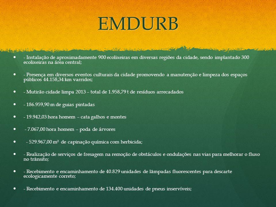 EMDURB - Instalação de aproximadamente 900 ecolixeiras em diversas regiões da cidade, sendo implantado 300 ecolixeiras na área central;