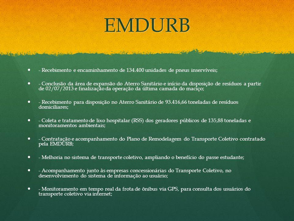 EMDURB- Recebimento e encaminhamento de 134.400 unidades de pneus inservíveis;