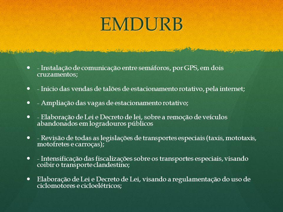 EMDURB- Instalação de comunicação entre semáforos, por GPS, em dois cruzamentos;