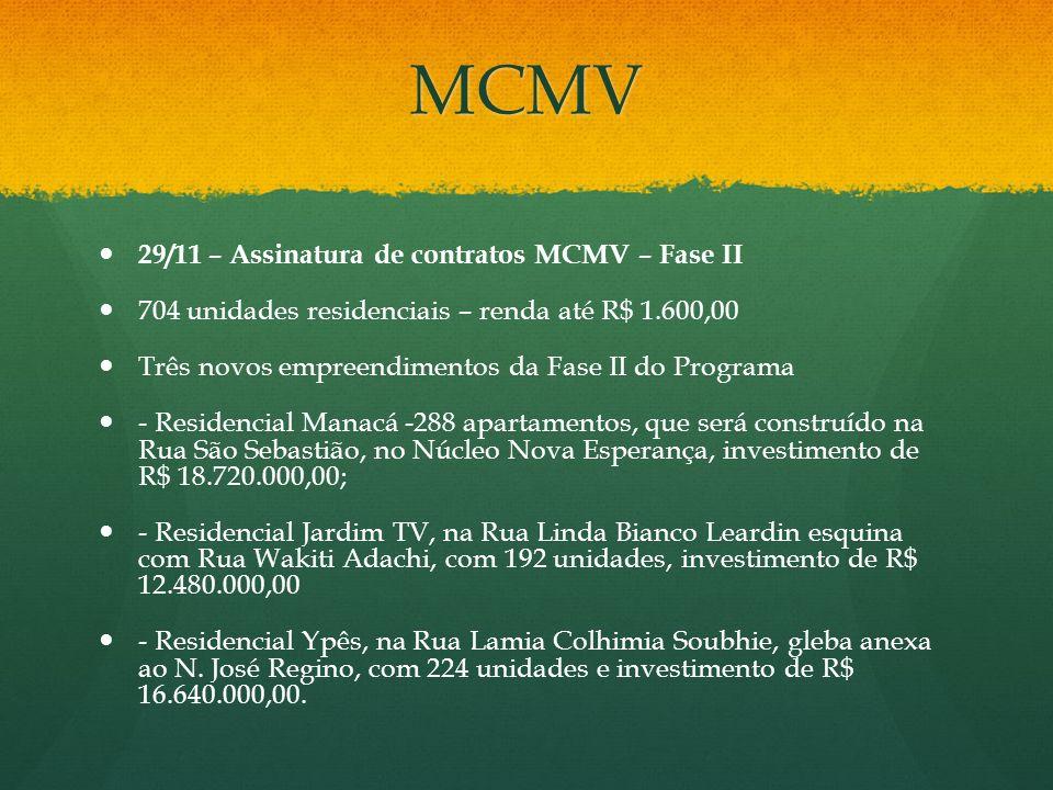 MCMV 29/11 – Assinatura de contratos MCMV – Fase II
