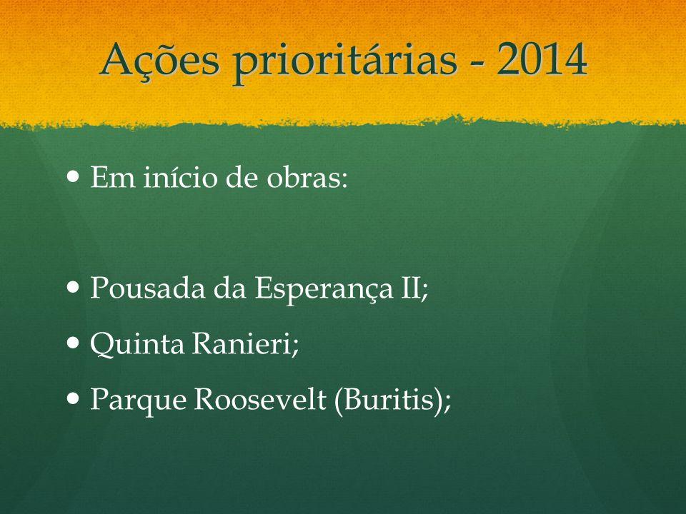 Ações prioritárias - 2014 Em início de obras: Pousada da Esperança II;