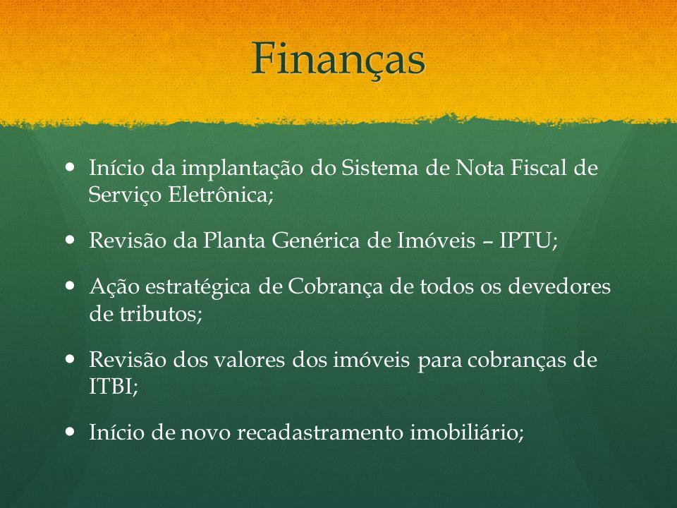 Finanças Início da implantação do Sistema de Nota Fiscal de Serviço Eletrônica; Revisão da Planta Genérica de Imóveis – IPTU;