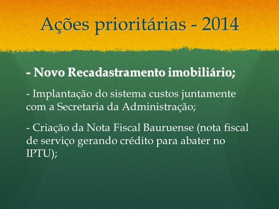 Ações prioritárias - 2014 - Novo Recadastramento imobiliário;