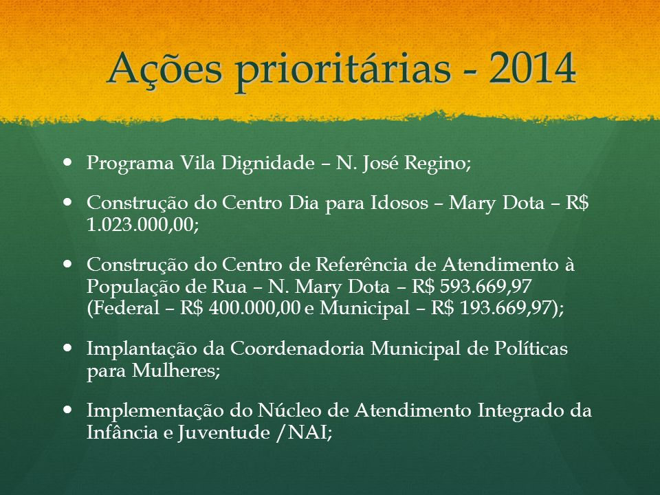 Ações prioritárias - 2014 Programa Vila Dignidade – N. José Regino;
